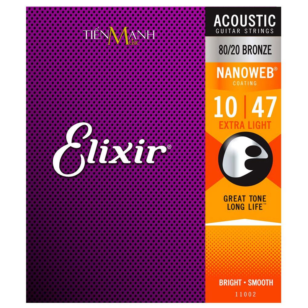 Dây Đàn Guitar Acoustic Elixir 11002 (80-20 Bronze - Phủ lớp Nanoweb)