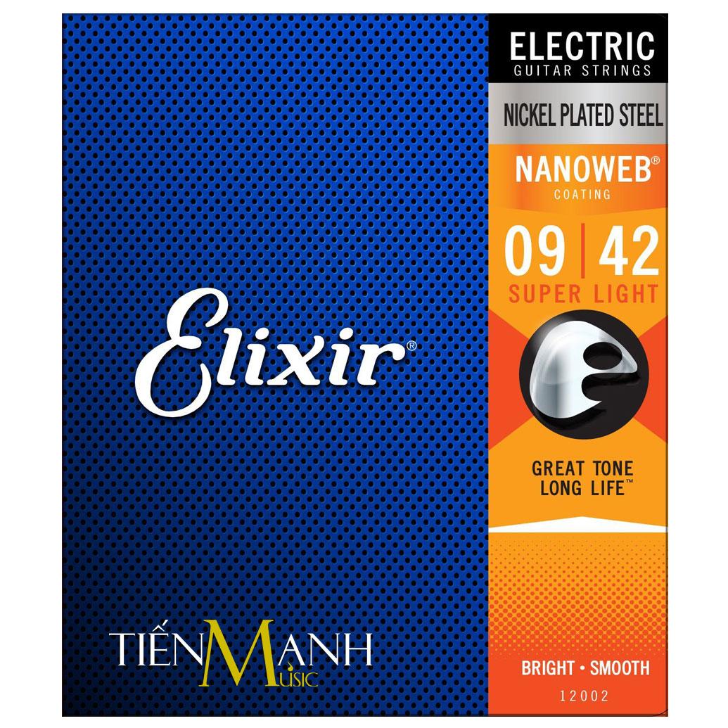 Bộ Dây Đàn Guitar Điện Elixir Electric Strings 12002 (Cỡ 9-42 - Nikel Plated Steel - Phủ lớp Nanoweb cao cấp)