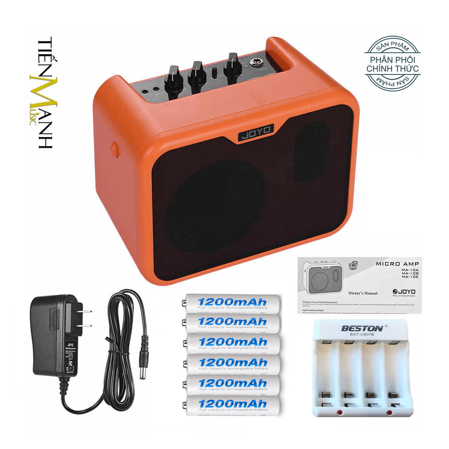 Ampli Đàn Guitar Acoustic Joyo 10W MA-10A - Nguồn, 6 Cục Pin Sạc, Bộ Sạc Pin - Loa Amply Nhạc Cụ Mộc Khuếch Đại Âm Thanh Amplifier