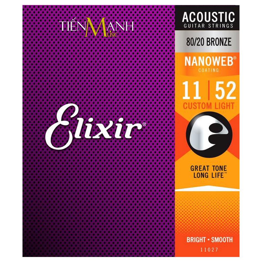 Dây Đàn Guitar Acoustic Elixir 11027 (80-20 Bronze - Phủ lớp Nanoweb)