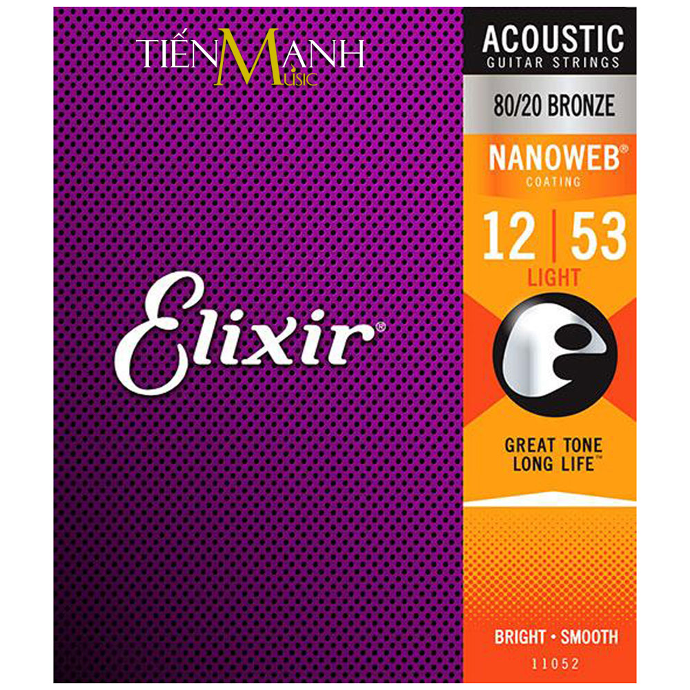 Dây Đàn Guitar Acoustic Elixir 11052 (80-20 Bronze - Phủ lớp Nanoweb)