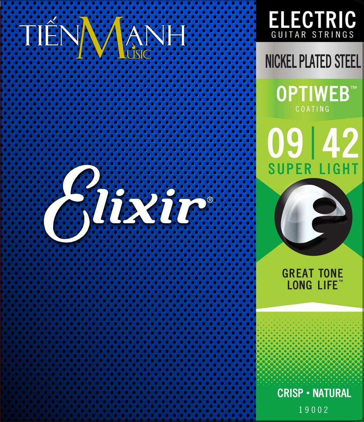 Bộ Dây Đàn Elixir Electric Guitar Strings 19002 (Dây Guitar Điện cỡ 9 - Phủ lớp Optiweb cao cấp)