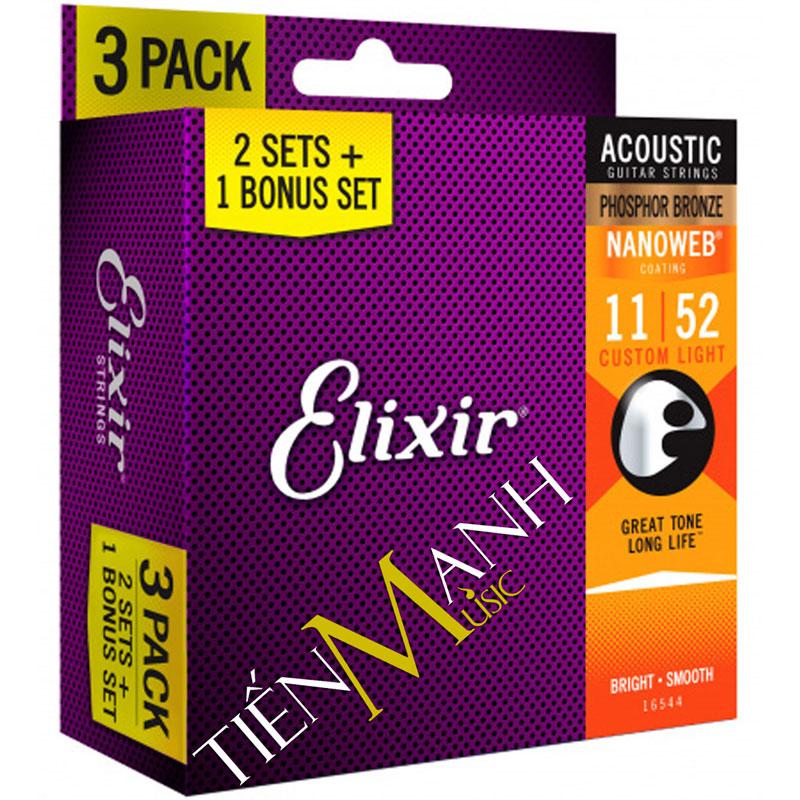 Pack 3 bộ Dây Đàn Guitar Acoustic Elixir 16544 (Cỡ 11-52 Phosphor Bronze - Phủ lớp Nanoweb)