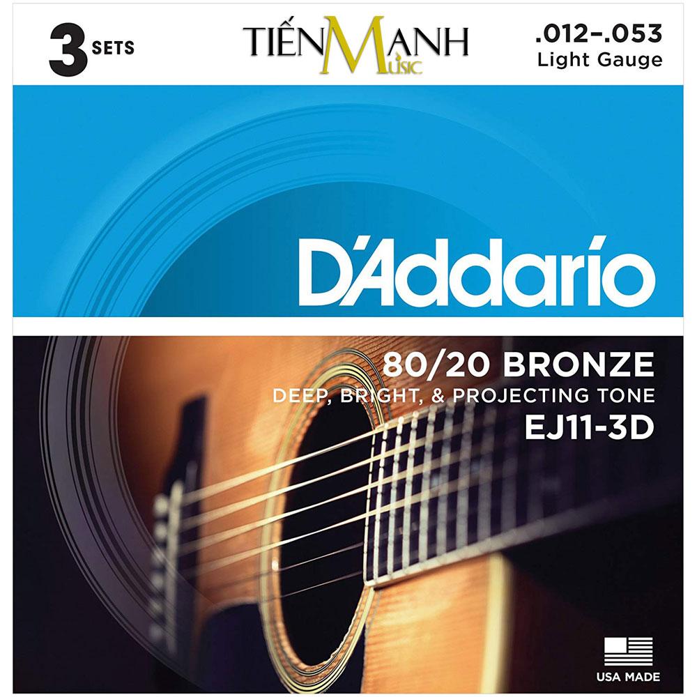 Combo 3 Bộ Dây Đàn Acoustic Guitar 80/20 Bronze DAddario EJ11-3D