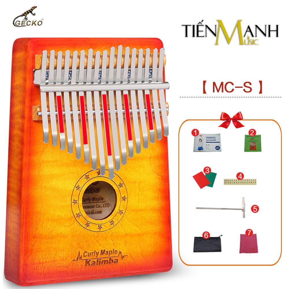 Đàn Kalimba Gecko 17 Phím MC-S (Đỏ cam - Sunburst - Gỗ Phong vân hổ - Mbira Thumb Finger Piano 17 Keys)