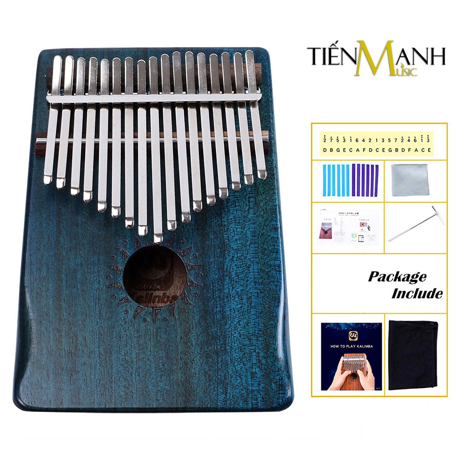 Đàn Kalimba Walter 17 Phím WK-17BL (Xanh - Gỗ Mahogany - Mbira Thumb Finger Piano 17 Keys)