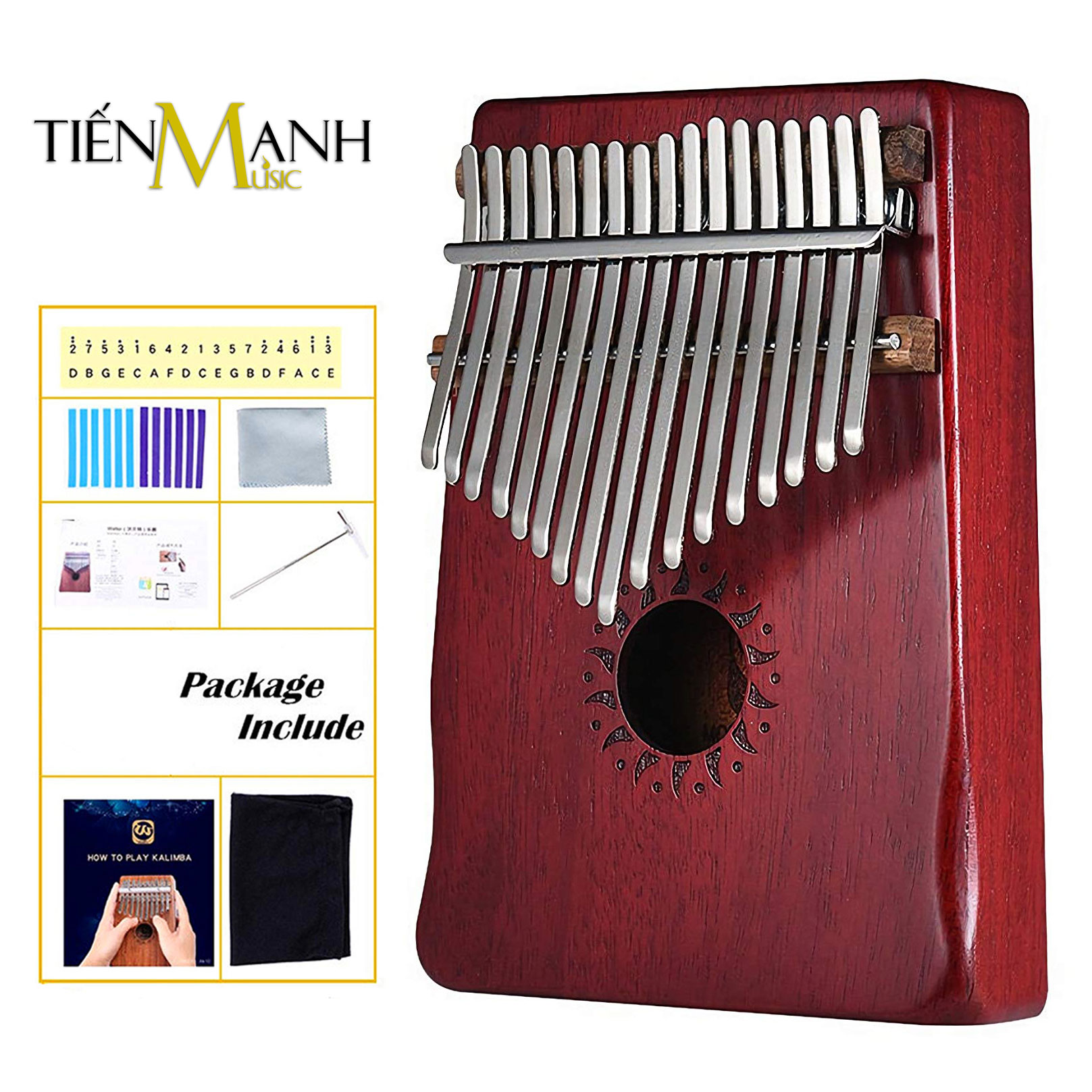 Đàn Kalimba Walter 17 Phím WK-17RD (Đỏ - Gỗ Mahogany - Mbira Thumb Finger Piano 17 Keys)