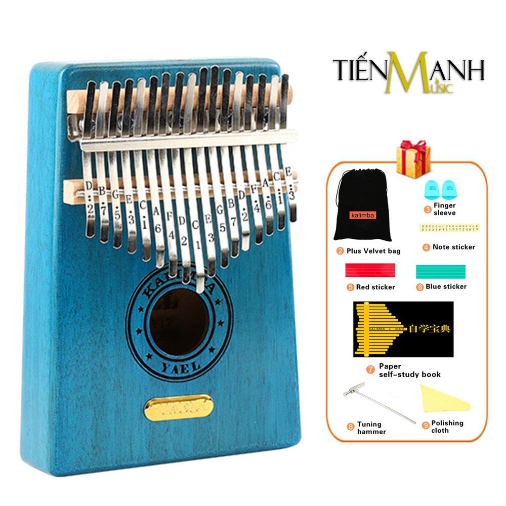 Đàn Kalimba Yael 17 Phím Gỗ Mahogany Y17M-BL (Xanh - Mbira Thumb Finger Piano 17 Keys)