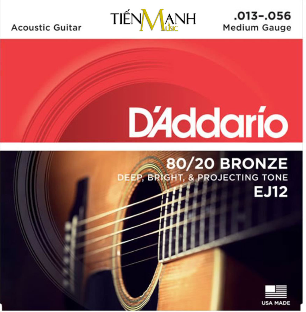 Bộ Dây Đàn Acoustic Guitar 80/20 Bronze DAddario EJ12