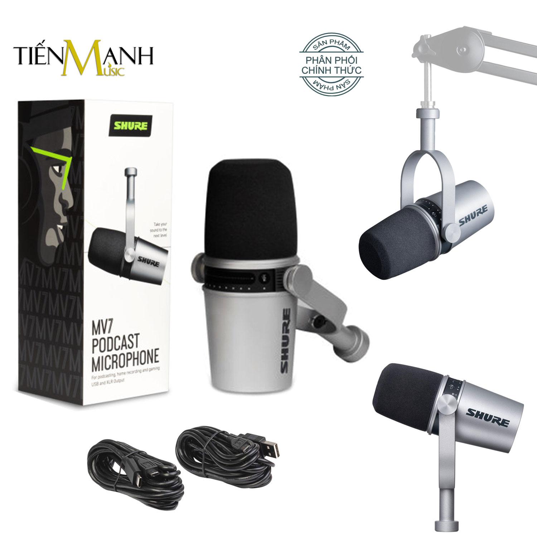 Mic Shure MV7 Livestream Podcast - Có tích hợp Soundcard, Cổng Tai Nghe - Micro Thu Âm Phòng Studio, Microphone Biểu Diễn Chuyên Nghiệp MV7-K - Chính Hãng USA
