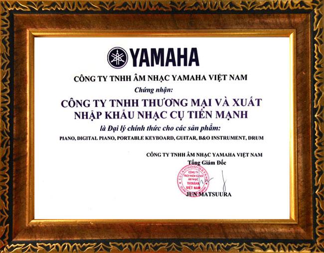 Chứng nhận đại lý chính thức của Yamaha Việt Nam