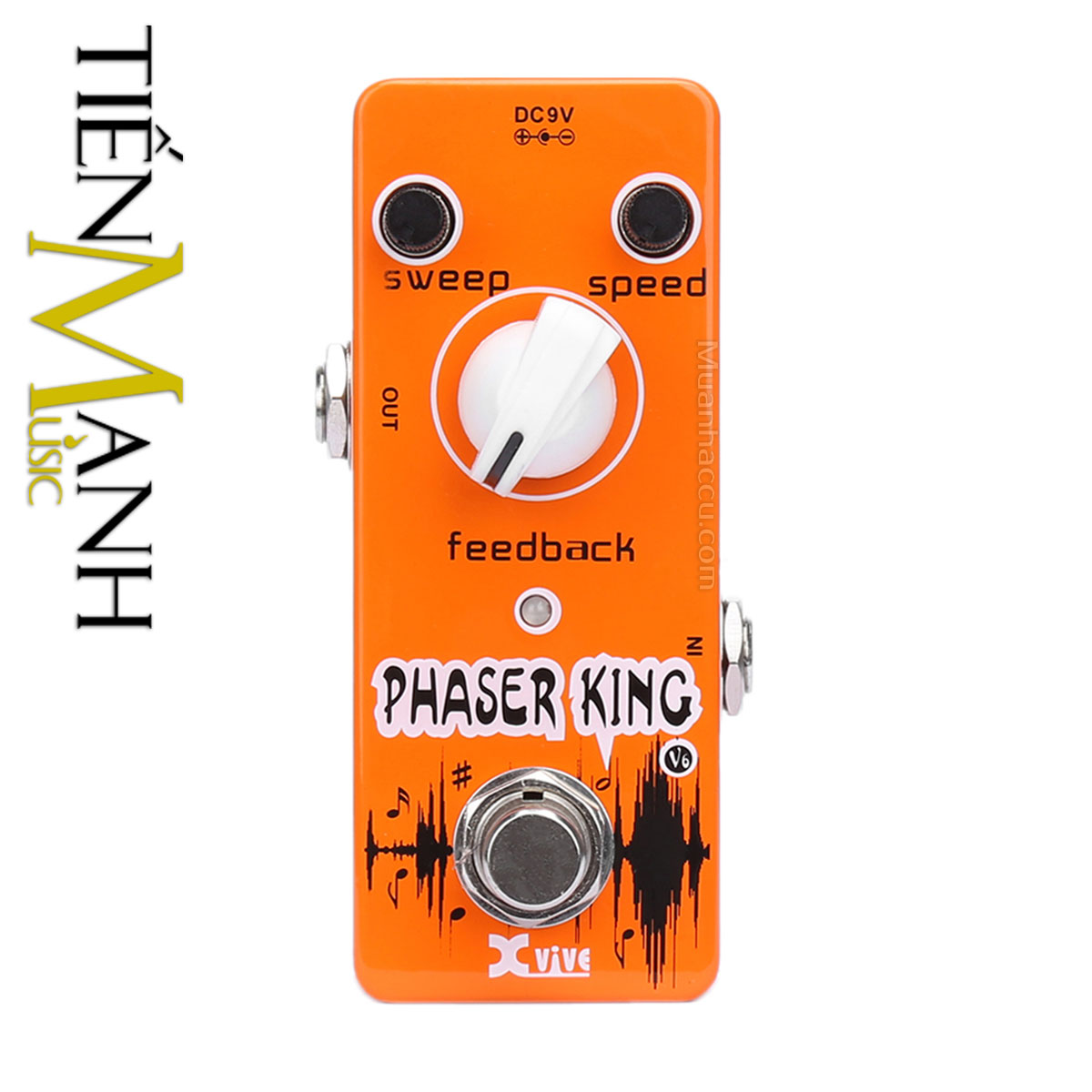 Phơ Guitar Xvive Analog Phaser King V6 (Nguồn chính hãng đi kèm - Bàn đạp Fuzz Pedals Effects)