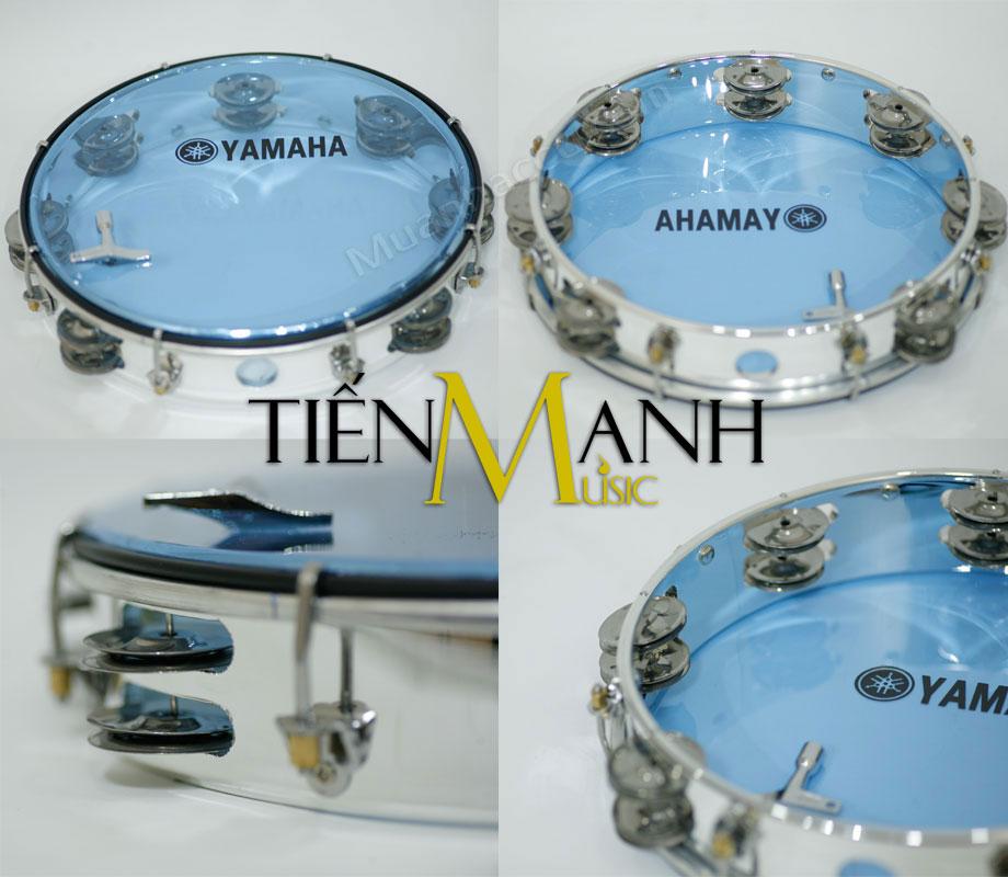 Trống lắc tay - Lục lạc gõ bo Inox Tambourine Yamaha MT6-102B (Xanh)