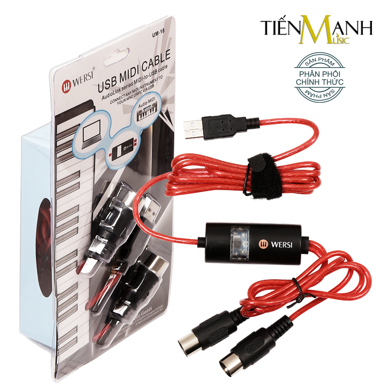 Dây Cáp Midi To USB Cable Cao Cấp Cho Organ, Keyboard WERSI UM-18 (kết nối truyền tín hiệu, âm thanh MIDI sang USB)