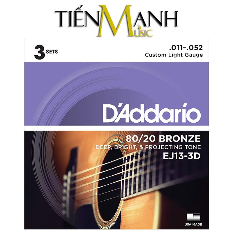 Combo 3 Bộ Dây Đàn Acoustic Guitar 80/20 Bronze DAddario EJ13-3D