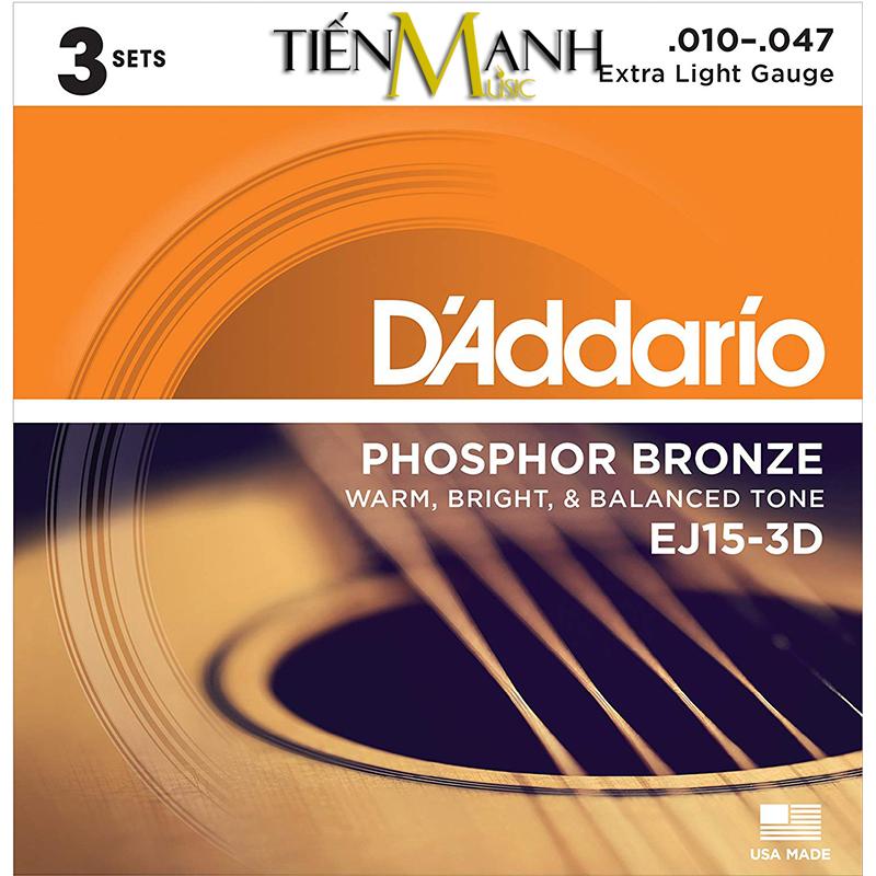 Combo 3 Bộ Dây Đàn Acoustic Guitar Phosphor Bronze DAddario EJ15-3D