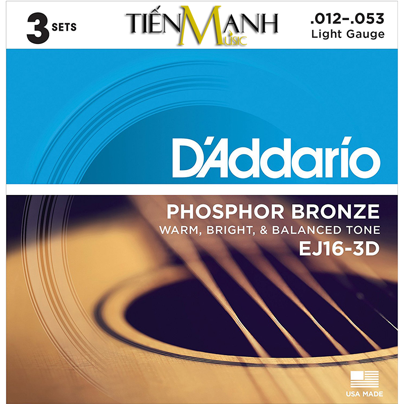 Combo 3 Bộ Dây Đàn Acoustic Guitar Phosphor Bronze DAddario EJ16-3D