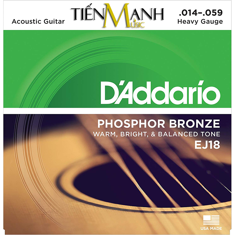 Dây Đàn Acoustic Guitar Phosphor Bronze DAddario EJ18