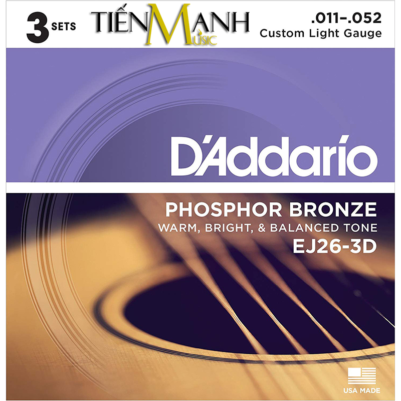 Combo 3 Bộ Dây Đàn Acoustic Guitar Phosphor Bronze DAddario EJ26-3D